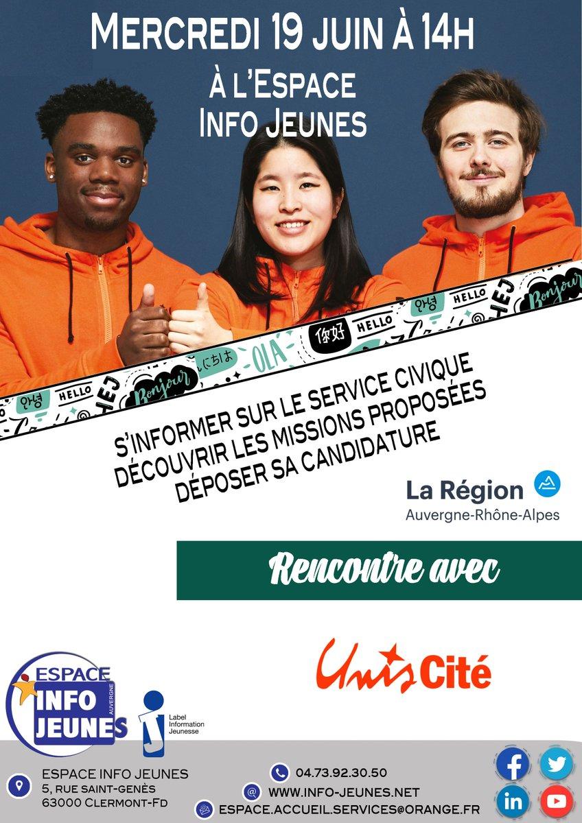 [agenda] 🗓 Vous êtes intéressé par le #servicecivique et vous souhaitez en apprendre davantage ? Venez rencontrer @uniscite à l'@espaceinfojeune de Clermont-Ferrand ce mercredi 19 juin à partir de 14h  👉 https://t.co/qdQMIfvN9I https://t.co/LJoD38xDJc