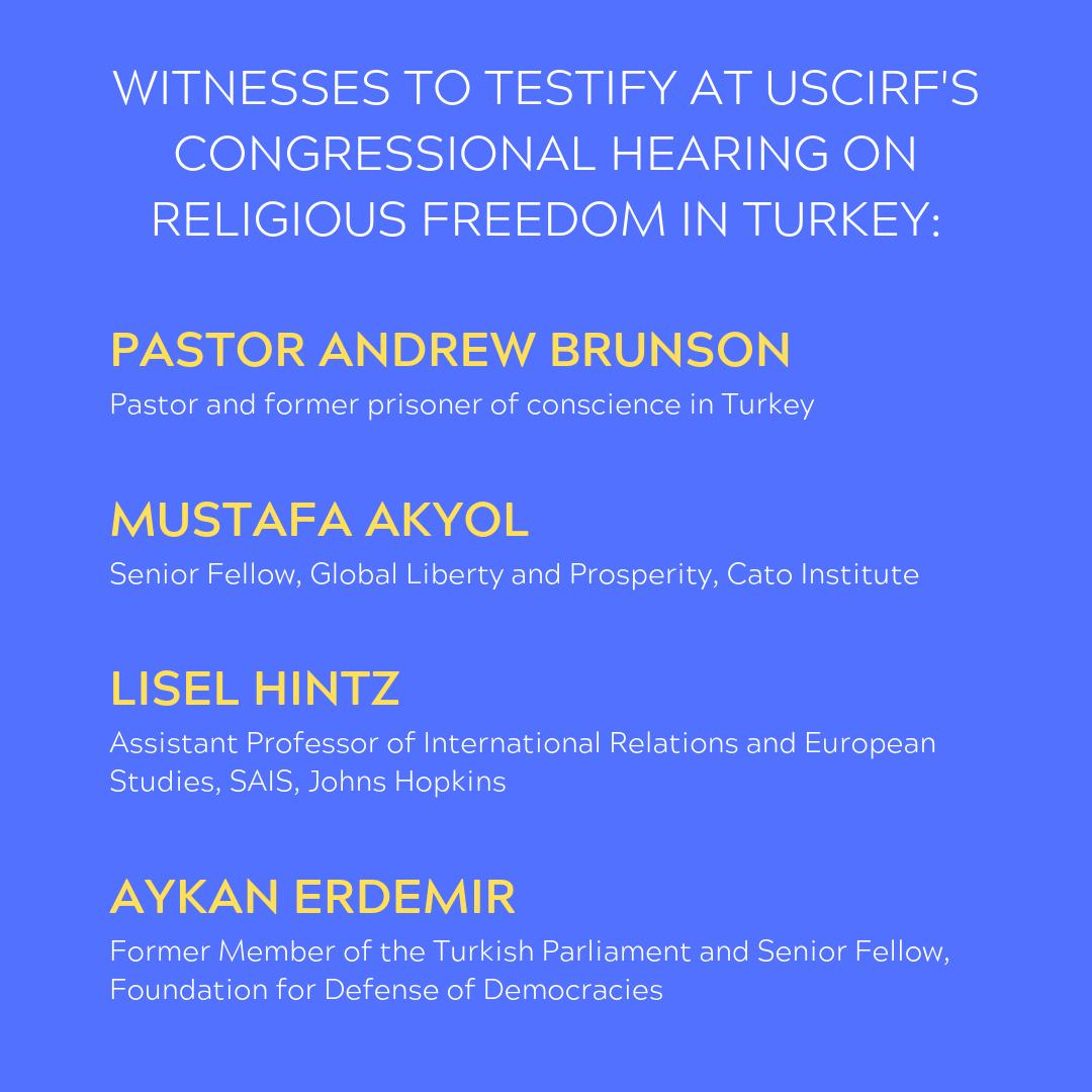 Please join USCIRF for a hearing about Turkey's religious communities and their ability to practice their faith without government interference.  Thursday, June 27 in 216 Hart Senate building. Click below for full details. #Turkey #ReligiousFreedom https://tinyurl.com/yynzpswa
