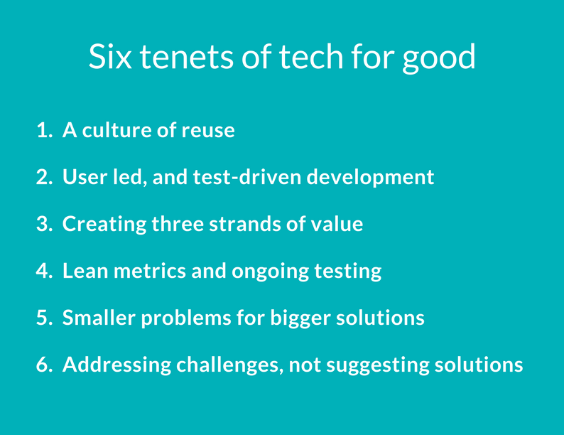 These are our Six Tenets of #TechForGood. Together they create an undercurrent to power a wave of digital innovation.  https://buff.ly/2zul8JR