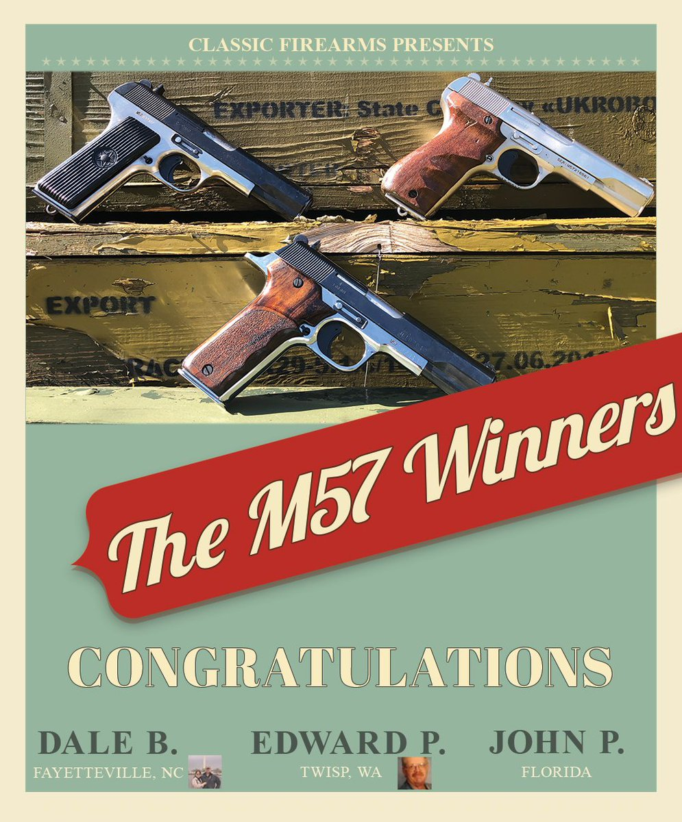 Congratulations to @EdPatterson17,  Dale B. and John P. - the winners of the Yugo M57 giveaway! Not one of the lucky winners? You can still get your own Yugo M57! Head over to our website to get yours today - https://www.classicfirearms.com/yugo-ttc-tokarev-ts-cr-surplus-9rd/…
