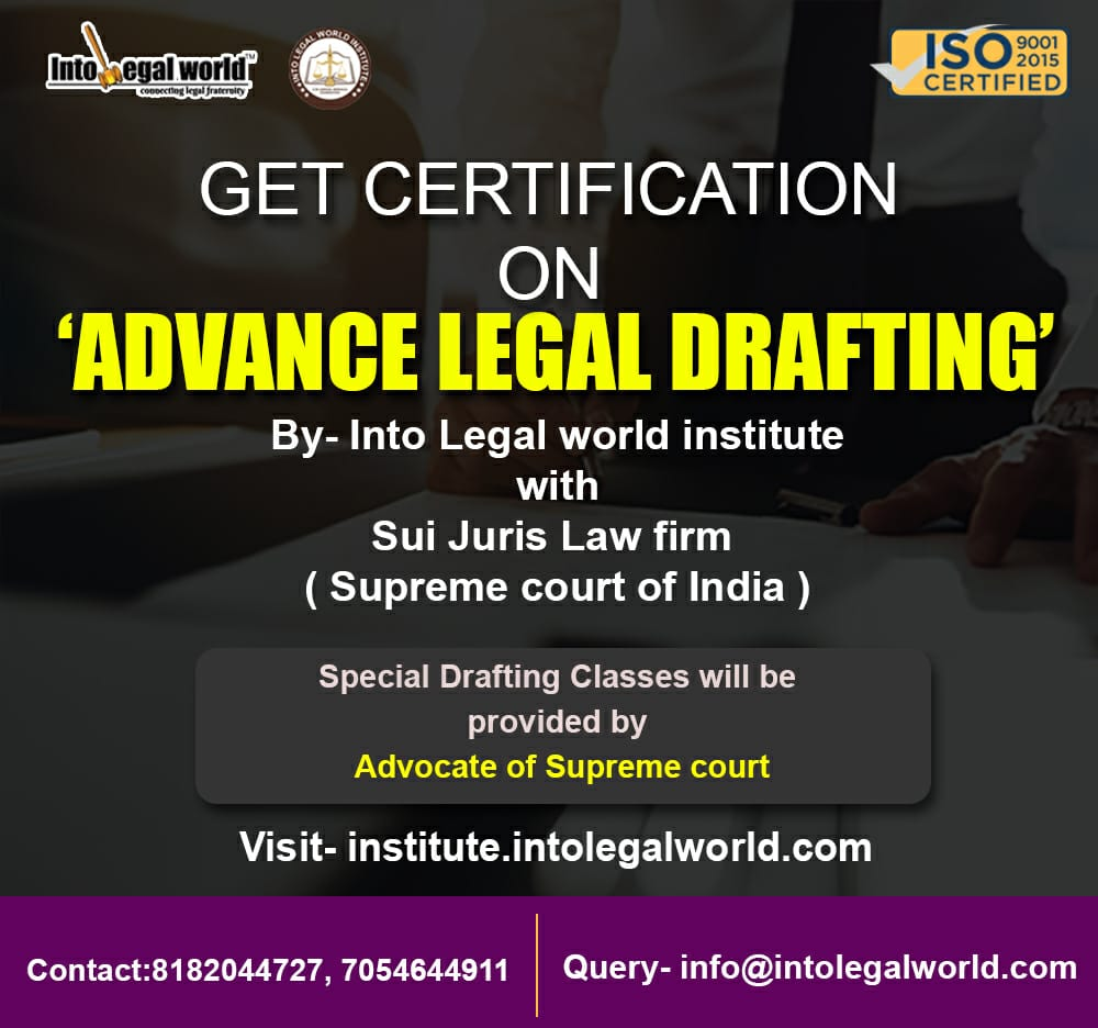 Advance Legal Drafting by Law Firm of Supreme Court* Visit https://institute.intolegalworld.com/certification-on-advanced-legal-drafting …  #law #awareness #information #legal #lawyers #government #india #supremecourt #advocates #legalnews #lawstudents #lawsociety #legalissues #legalcommunity #lawcertification #AdvanceLegalDrafting