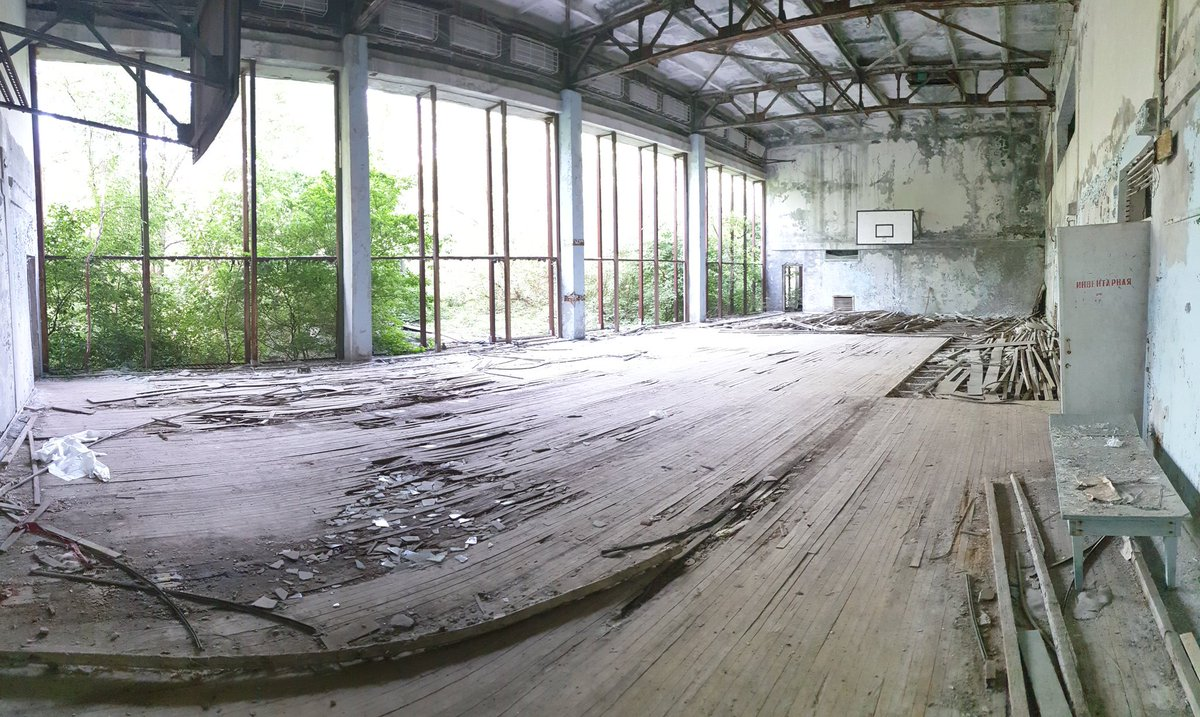 It might be missing the baskets, but how's this for a basketball court? Took the photo yesterday in Pripyat, Chernobyl. <br>http://pic.twitter.com/fA9gWpfw6k