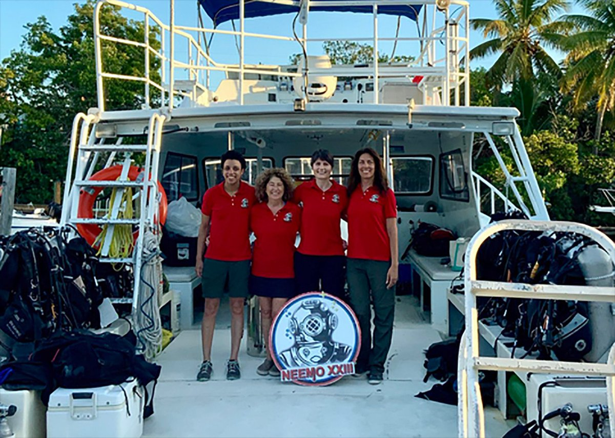 The @NASA_NEEMO #NEEMO23 crew of @AstroSamantha, @NASA Astronaut candidate Jessica Watkins & researchers Shirley Pomponi & Csilla Ari DAgostino have been hard at work completing the 9-day mission @ReefBase that will help prepare for future Moon exploration! #Moon2024 @esa