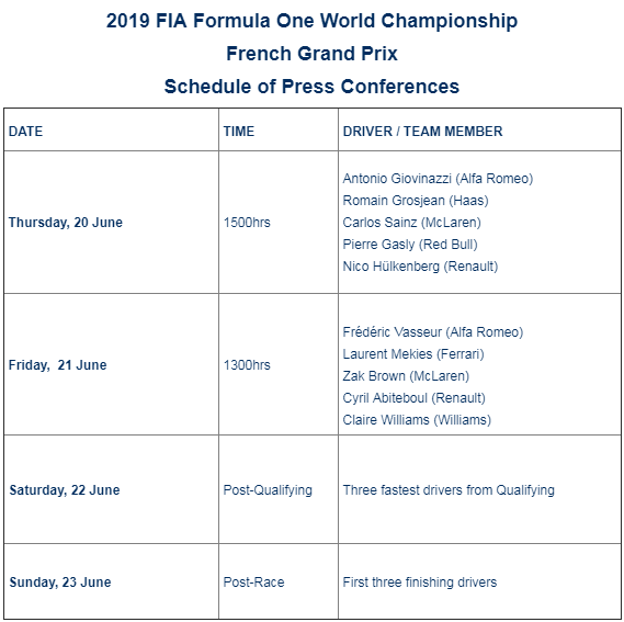 F1 - Here is the 2019 French GP Schedule of Press Conferences @F1 @GPFranceF1   https://www.fia.com/news/f1-2019-french-gp-schedule-press-conferences …
