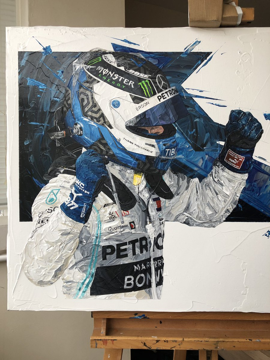 First half of @ValtteriBottas @MercedesAMGF1 palette knife painting is almost complete.