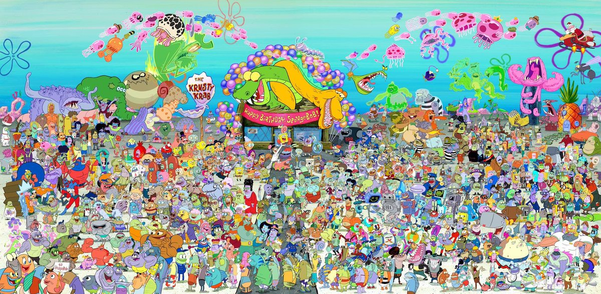 Nickelodeon released this poster to celebrate SpongeBob's 20 Anniversary that features pretty much every character from the series.  There's so many great deep cuts and character combinations.