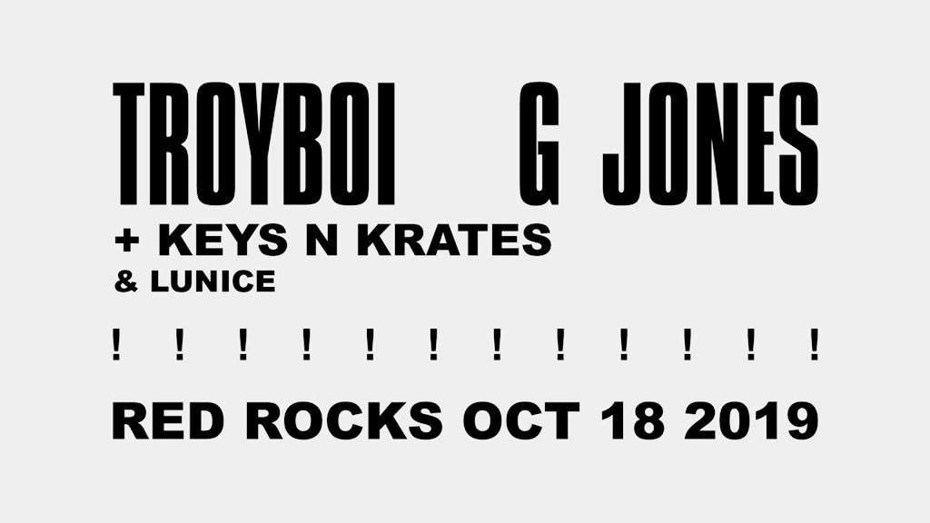 here we go- coheadlining red rocks (!!!) with troyboi on october 18 with support from keys n krates + lunice. pre-sale starts wed 6.19 at 10am w password: ROCKS   http:// bit.ly/gjonestroyboiRR     <br>http://pic.twitter.com/sHbysOhd4F