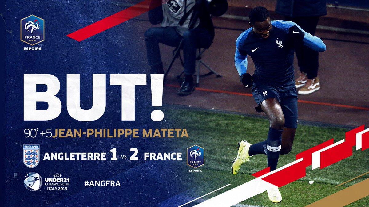 MAIS QUEL MATCH DE FOUUUUUUUU ! MATETA MARQUE A LA 95ème MINUTE!!!!!!! 2-1 pour les Bleuets !!!!!!!! #EuroEspoirs #ANGFRA 🏴🇫🇷