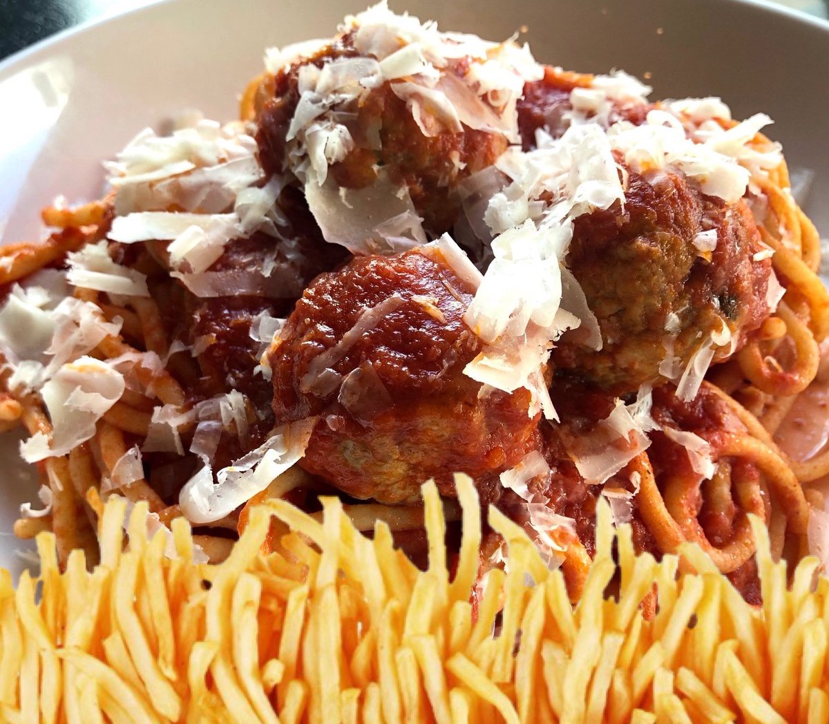 test Twitter Media - pasta special: spaghetti & meatballs with fries thrown on there $19 https://t.co/zAvrSyKJ2R