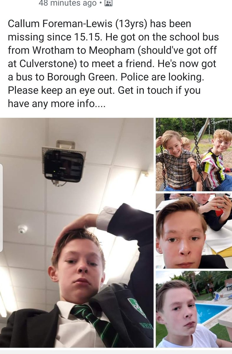 Young boy missing tonight, may have gone to #BoroughGreen or #Sevenoaks. Anyone in the area please keep a look out #MissingPerson <br>http://pic.twitter.com/9H7Hqdh8Pc