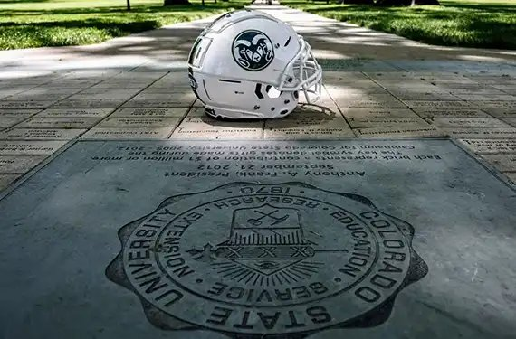 Colorado State celebrates sesquicentennial with special hornless homecoming helmet news.sportslogos.net/2019/06/18/col…