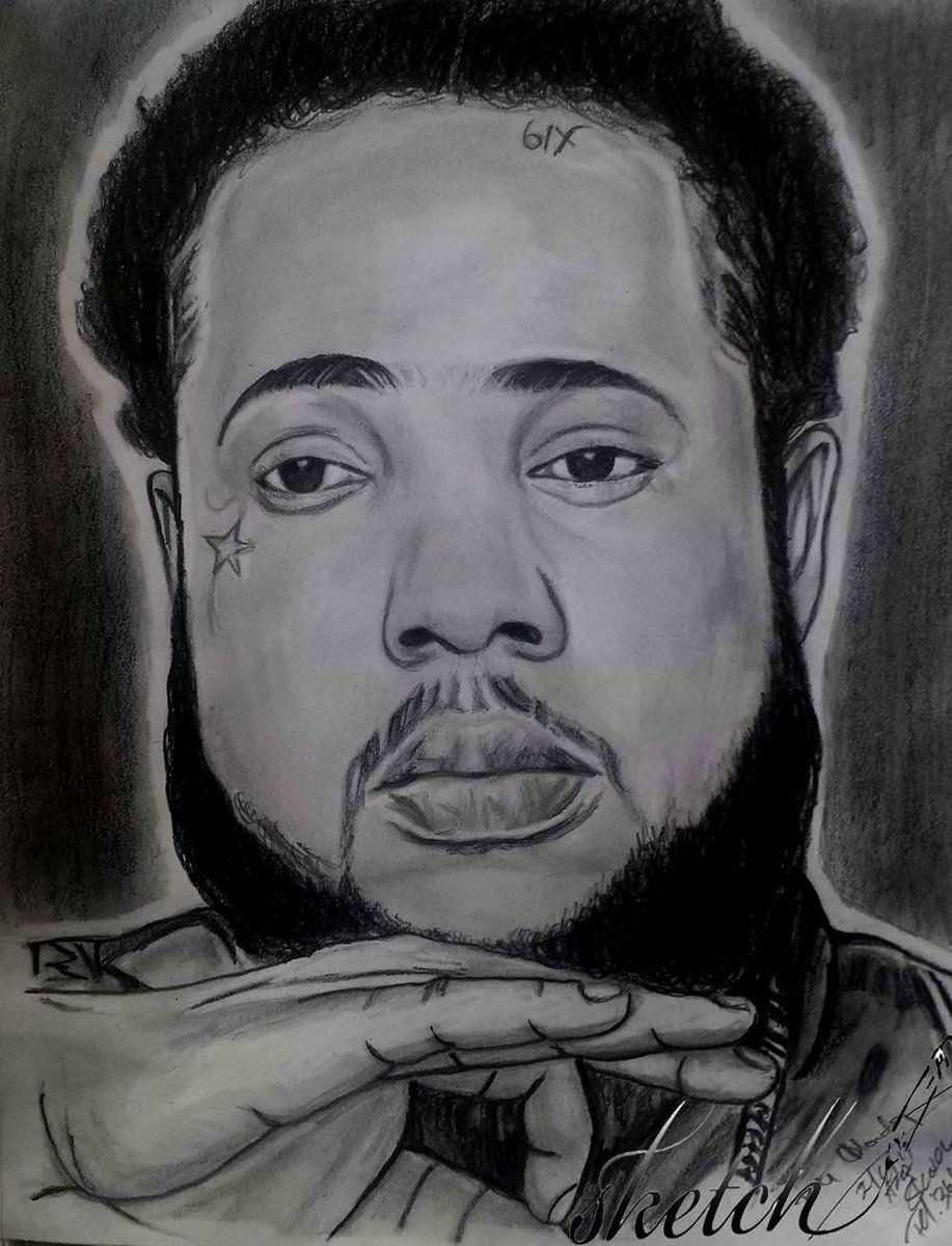 Sketch portrait with artiste sqaush 6ixisreal order now