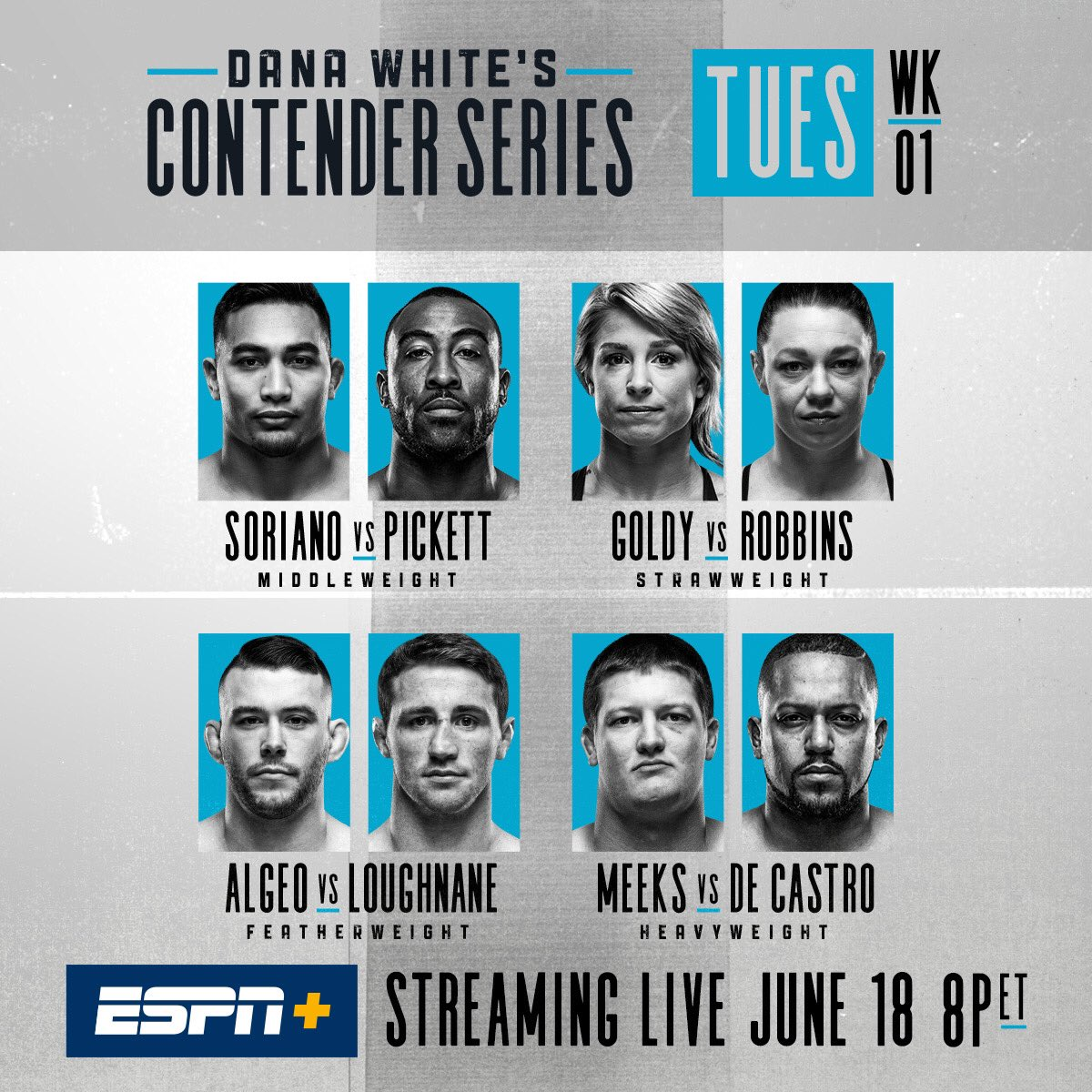 Contender Series TONIGHT live on ESPN+ in the U.S. and @UFCFightPass everywhere else in the world!!!