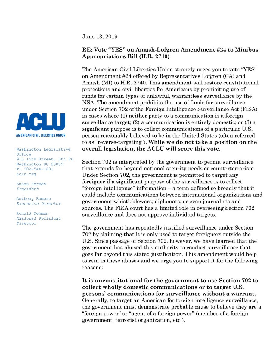 Thank you, @ACLU, for supporting the Amash-Lofgren amendment to stop the government from using FISA to violate Americans' civil liberties.