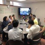 Image for the Tweet beginning: Members of the @ComiteSanturban discuss