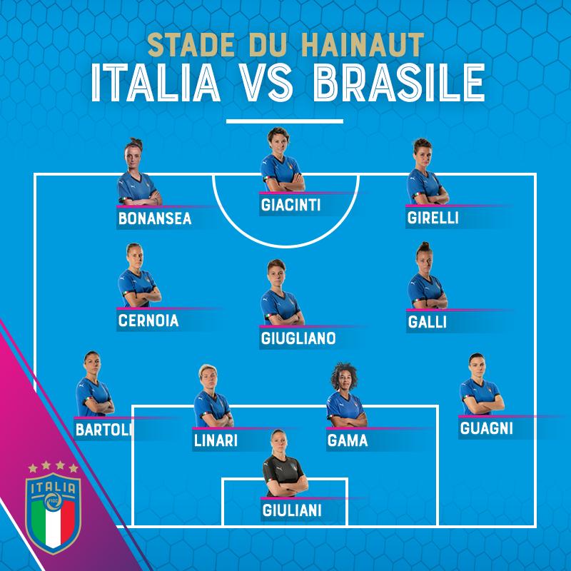 🏟️ ⚽️ La formazione ufficiale delle #Azzurre 🇮🇹 🆚 #ITABRA 🇮🇹 🇧🇷 #RagazzeMondiali #FIFAWWC #DareToShine #ItaliaBrasile