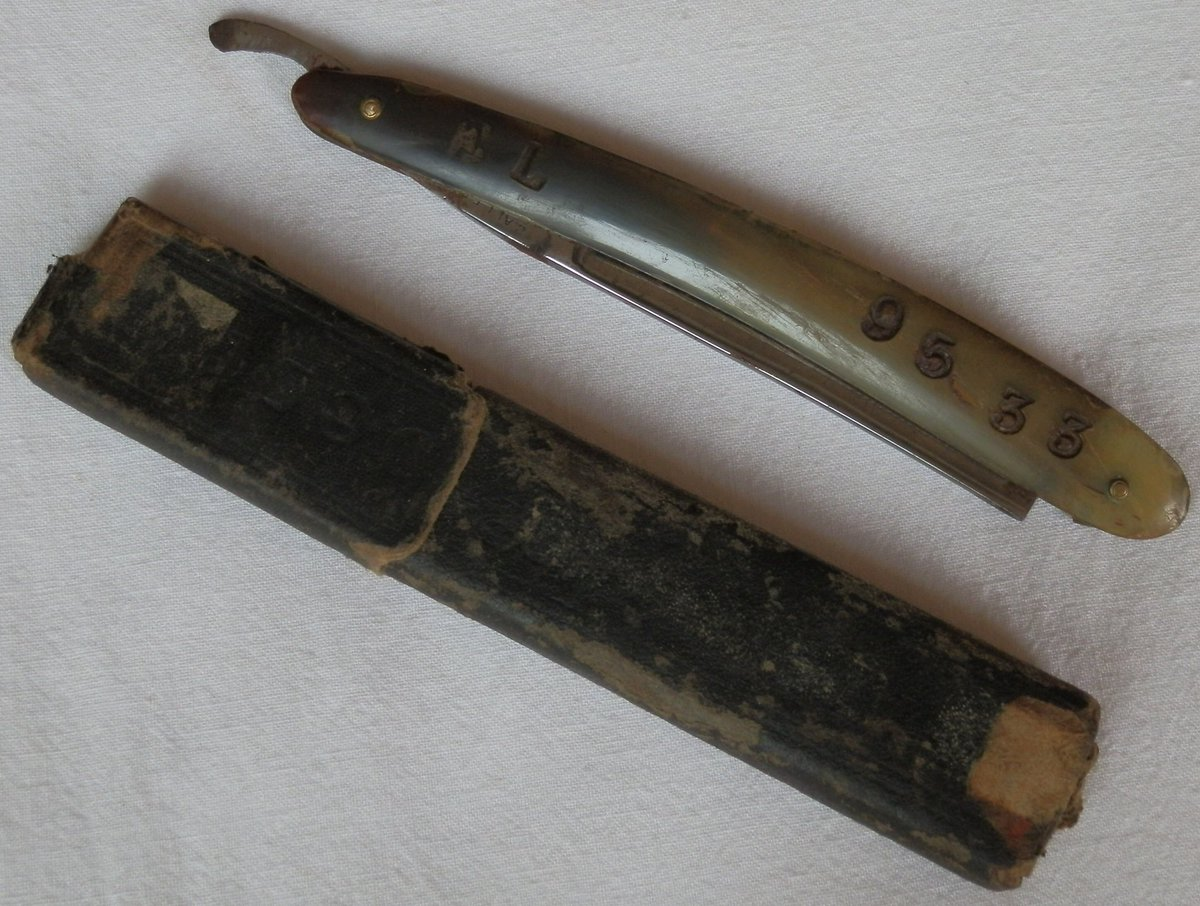 The change over to my new site is a little out of my hands at present, with my site data held up by the old site host (nice, thanks for that). Image here a British WW1 owner marked open razor. (A Mons Military Antiques stocked item image). <br>http://pic.twitter.com/5l0OF9VTaO