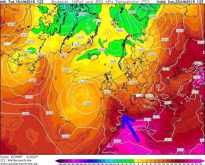 Los modelos para la semana que viene:  Baja quedándose bastante estacionaria al W de la península y dorsal cálida ascendiendo por el E, con isos muy elevadas. De cumplirse hablaríamos de un episodio de calor importante en el este de la península. A vigilar. Última del ECMWF