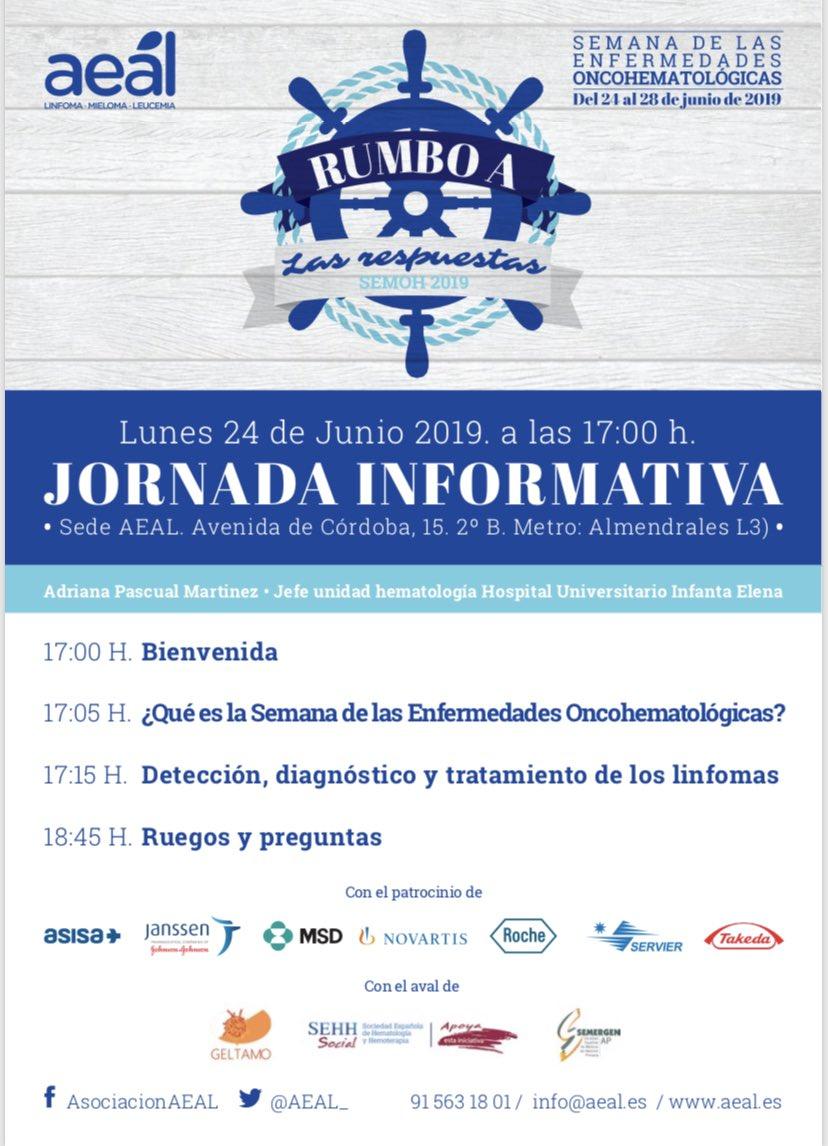Próximo lunes, jornada informativa para #paciente #linfoma #semanadelaenfermedadoncohematologicas @aeal @gepac @nataliagarcia_7 @HUInfantaElena
