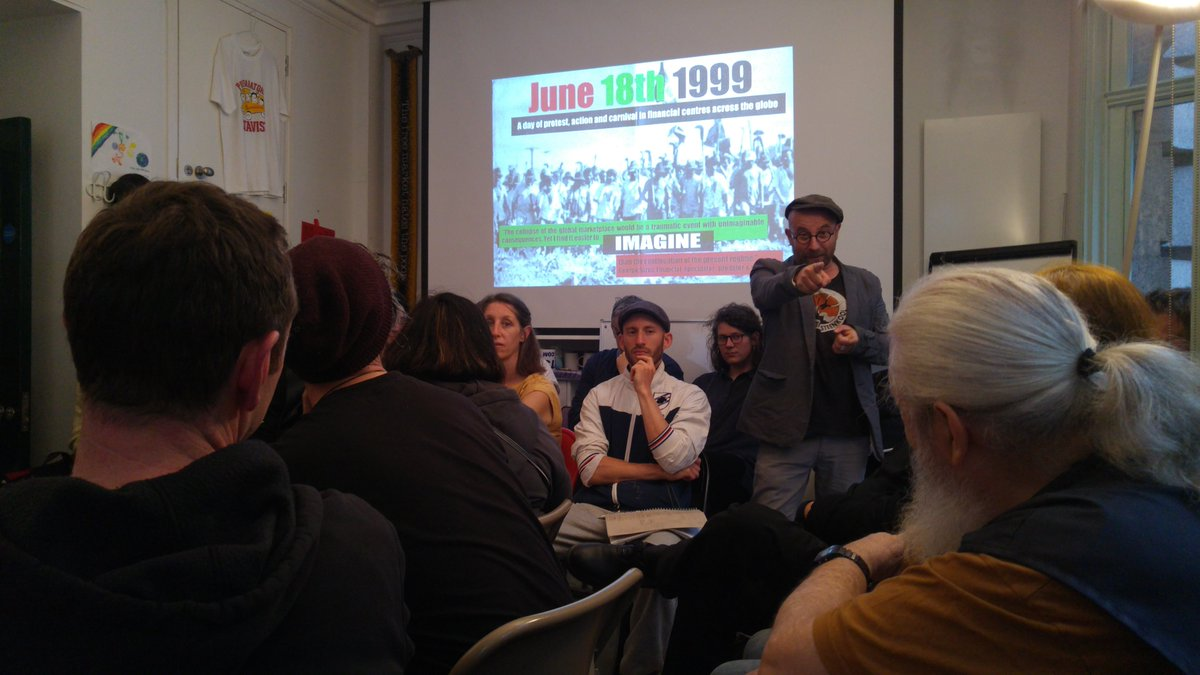 @maydayrooms is filled to capacity for #J18 commemorative event - 20 years since the Carnival Against Capital - exploring lessons for todays struggles.