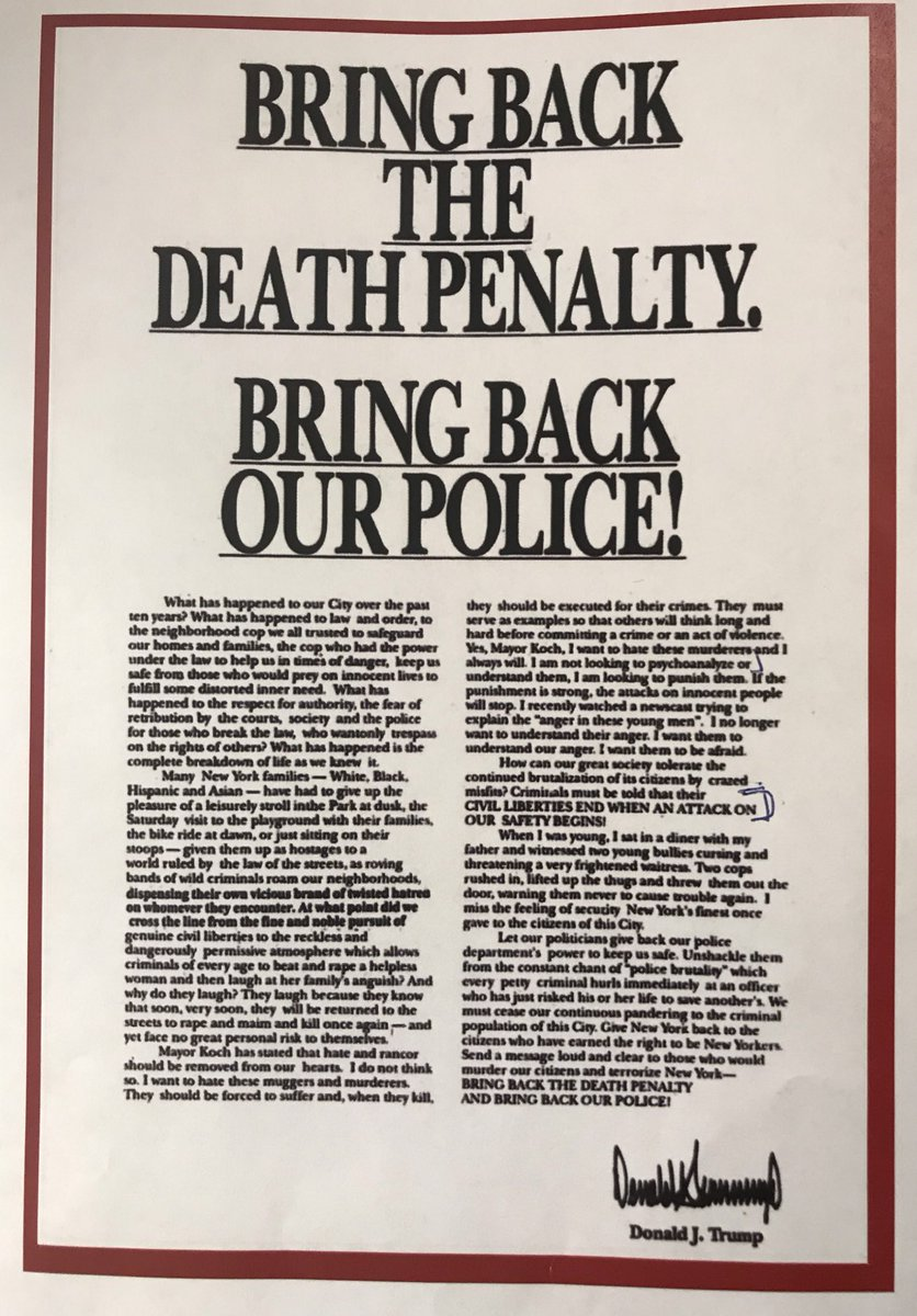 The 1989 ad that @realDonaldTrump ran in four NY dailies after the Central Park Five allegations.