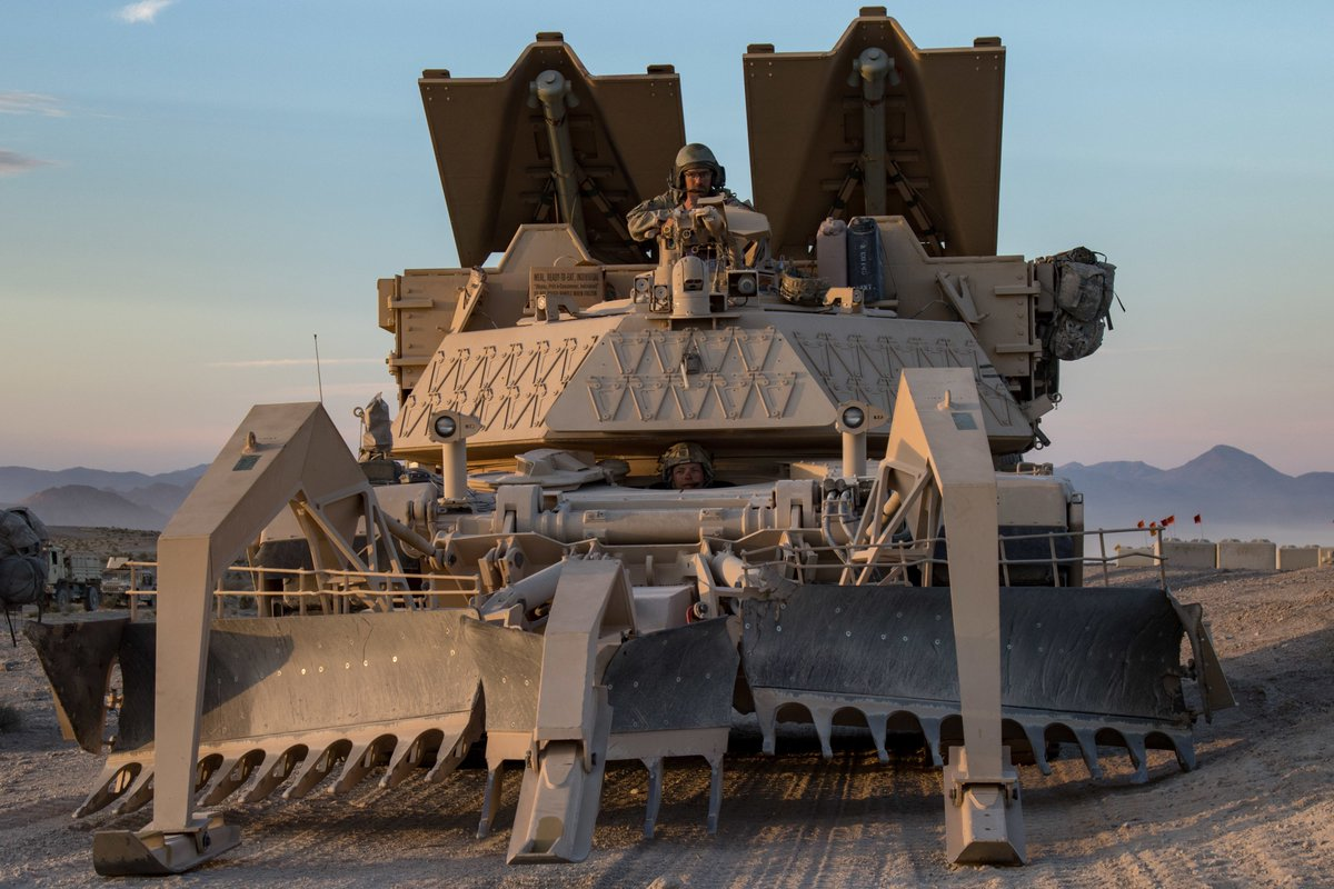 This tank has teeth! @USArmy soldiers from the @IDNationalGuard position their M1150 Assault Breacher Vehicle during a live-fire training exercise at the National Training Center in Fort Irwin, Calif. #KnowYourMil