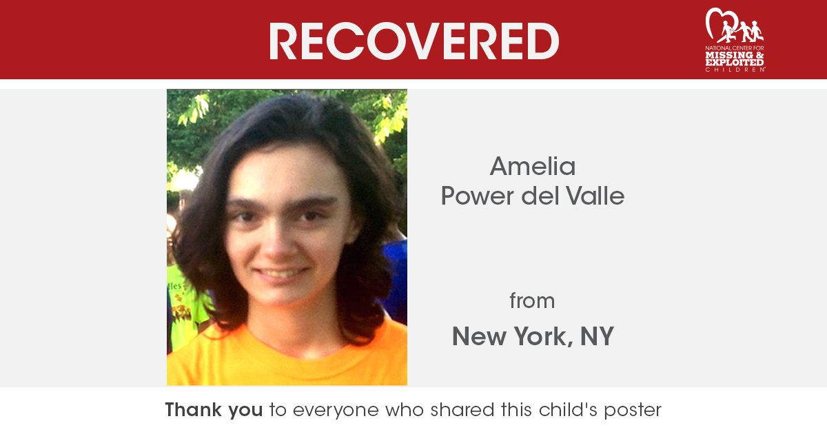 SAFELY RECOVERED   Due to everyone's effort and support, the Center is pleased to inform you that Amelia Power del Valle, missing from New York, Ny, has been located. <br>http://pic.twitter.com/btqs6aLJgu