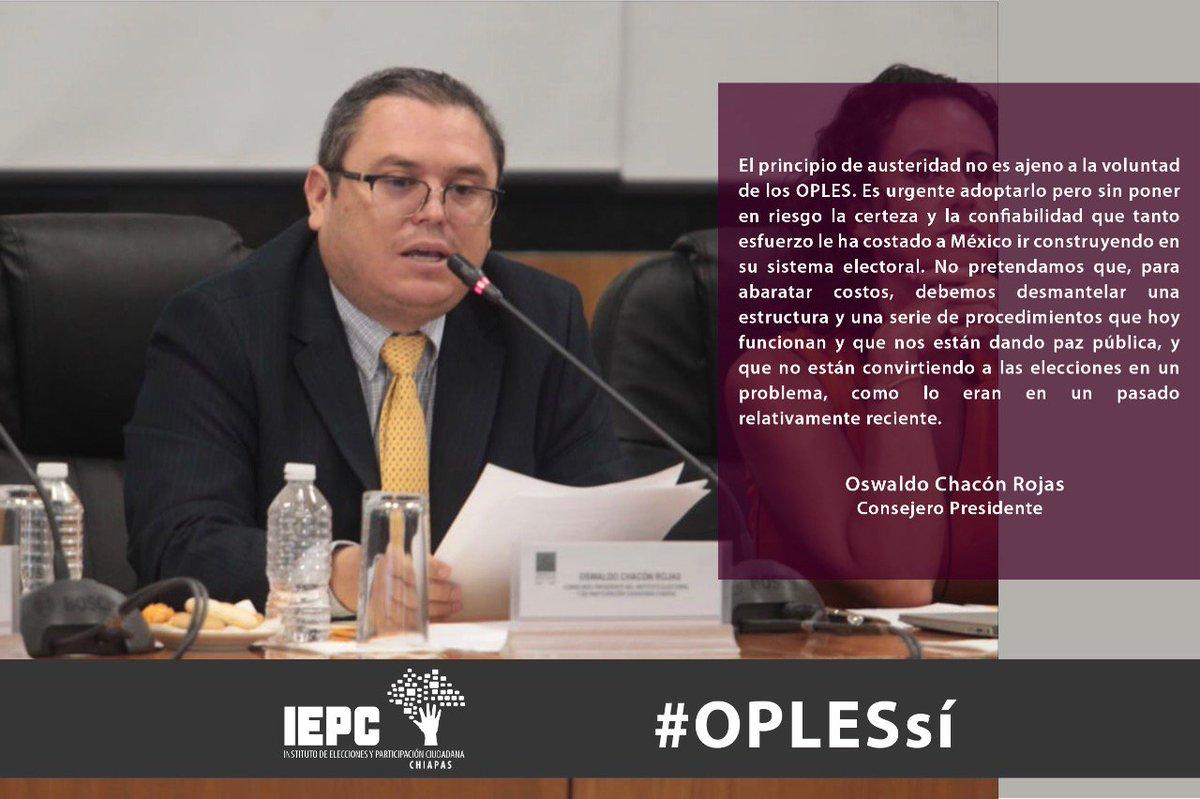 El principio de austeridad no es ajeno a la voluntad de los OPLES. Es urgente adoptarlo pero sin poner en riesgo la certeza y la confiabilidad que tanto esfuerzo le ha costado a México ir construyendo en su sistema electoral: Consejero presidente @ochaconrojas. #OPLESsí