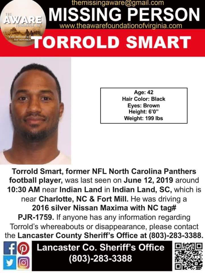 "Have you seen former @Panthers Torrold ""He Hate Me"" Smart? There are concerns about his safety & well-being. He was last seen June 12th near Indian Land, SC. Please contact the Lancaster County Sheriffs Depart. at 803-283-3388 with info regarding his whereabouts. #MissingPerson <br>http://pic.twitter.com/dcOjWqPBhO"