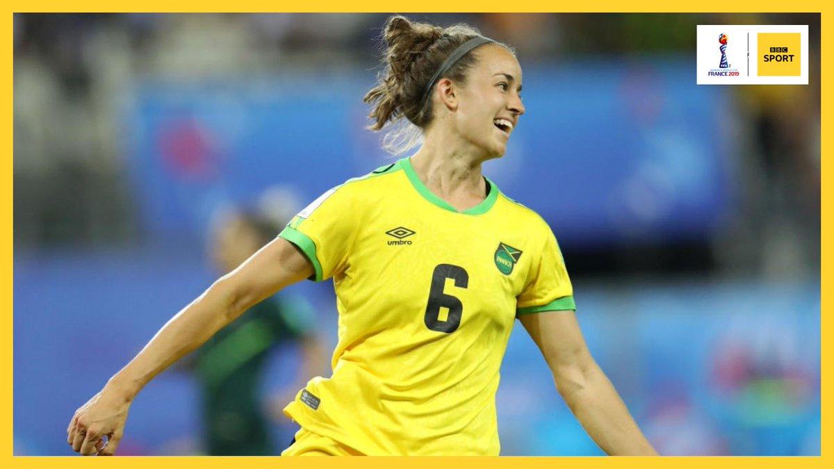 That feeling when you make history. 😀 Live: https://bbc.in/2Izu41K#JAM #AUS #FIFAWWC