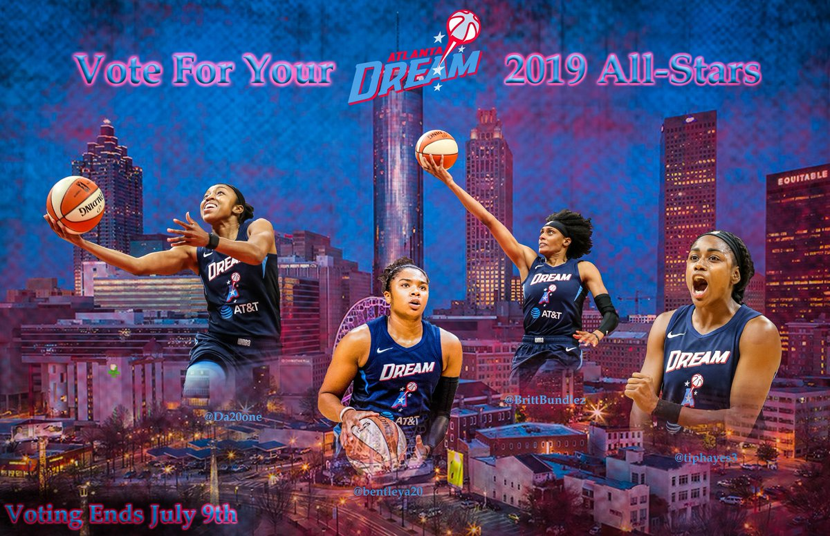 Let's go #ATL vote 4 your @atlantadream players for the 2019 @wnba all-star game.  @BrittBundlez - https://bit.ly/2ISszfh Alex - https://bit.ly/2WMqHtj @Da20one - https://bit.ly/2MTbLdb @tiphayes3 - https://bit.ly/2XWaqUd Shout-out to @savagehoops2112 for the 📸