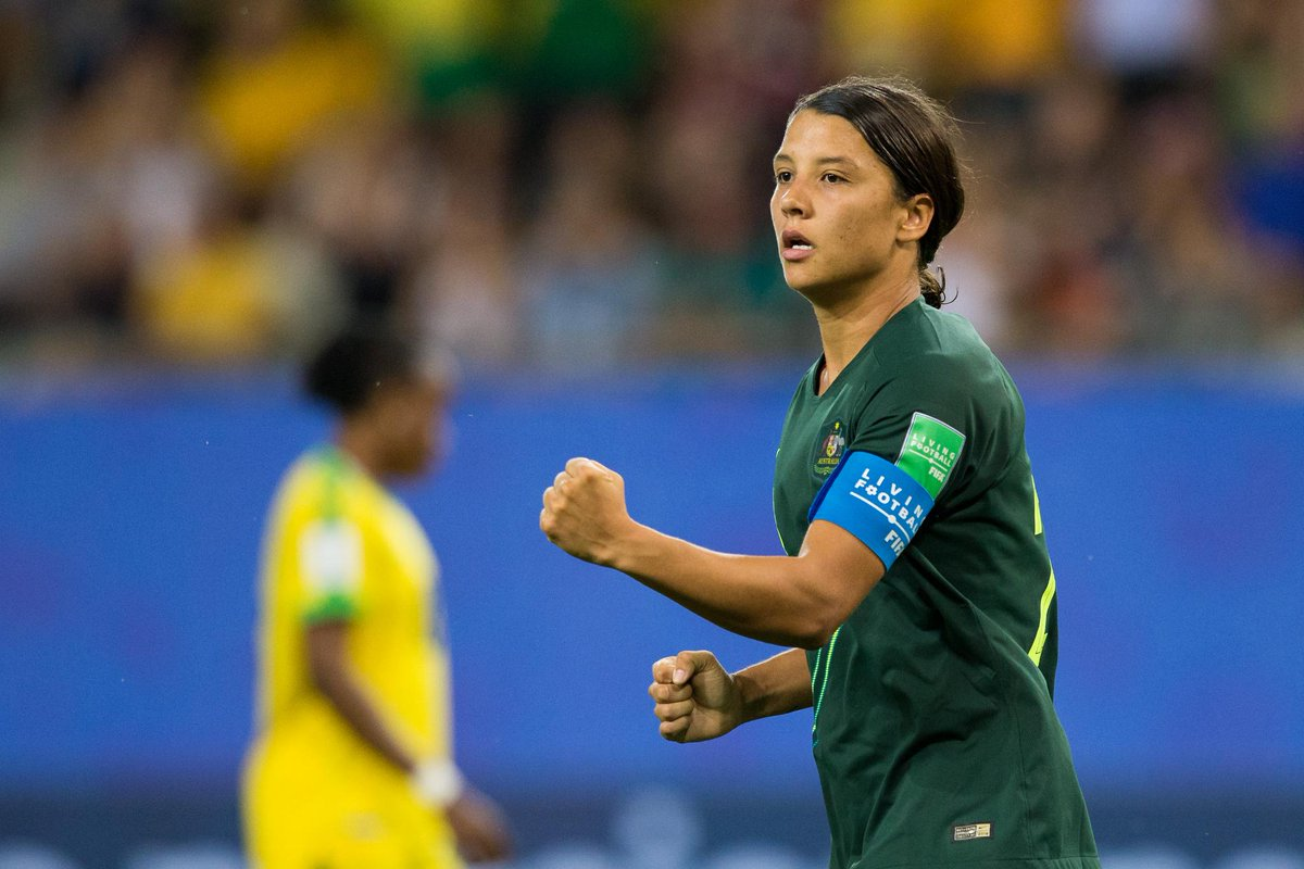 Recording Australias first-ever World Cup hat trick just wasnt enough so @samkerr1 went ahead and scored a 4th goal. #FIFAWWC