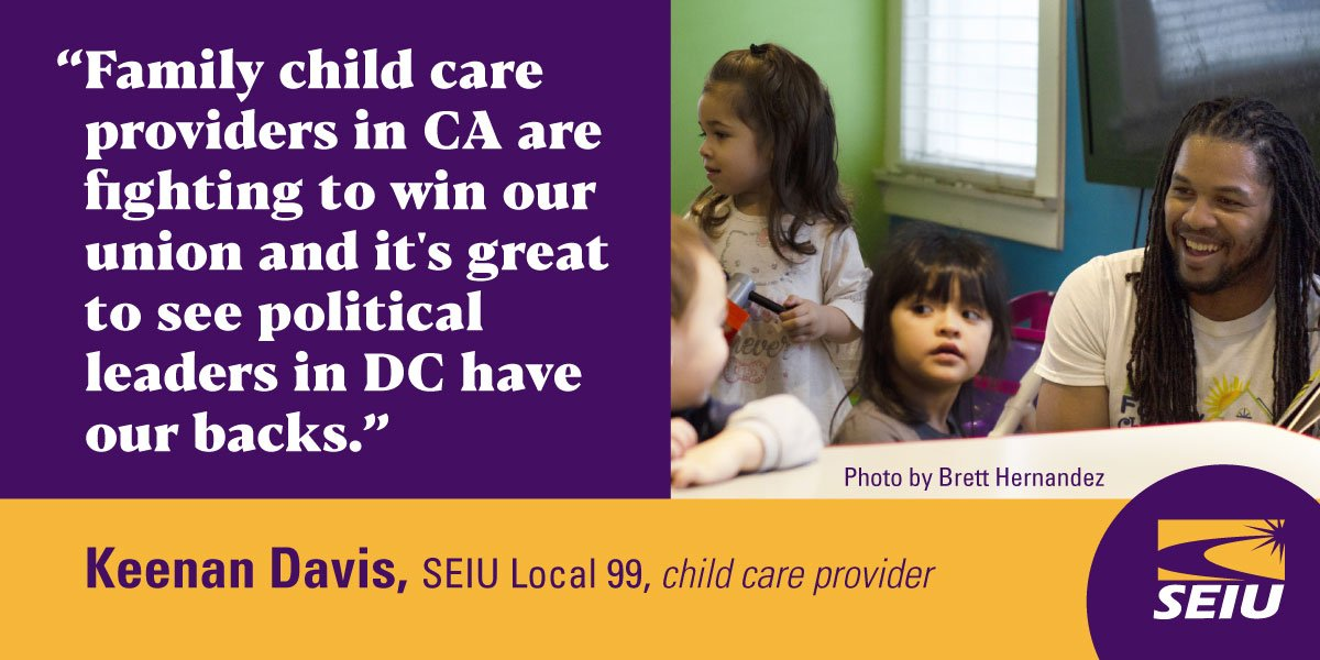 Child care providers like Keenan are fighting for their union in CA and they applaud the #UniversalChildCare Act. By getting a voice at the table, providers can win a better future.
