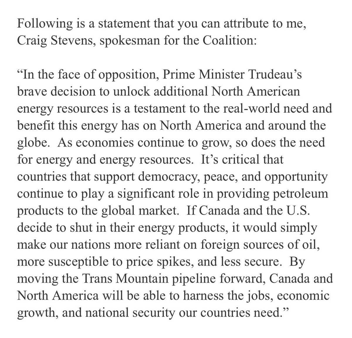 Below is our statement on @JustinTrudeau's decision to move forward with the Trans Mountain pipeline. #TransMountain