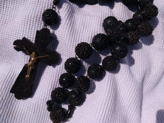 Antique Large Black Wood #Rosary 50's French Service Nun Belt Rosary Worker Tools Carved Brass #Crucifix French Scriptures #sophieladydeparis #religious #medal #antiques https://etsy.me/2iSEOeE