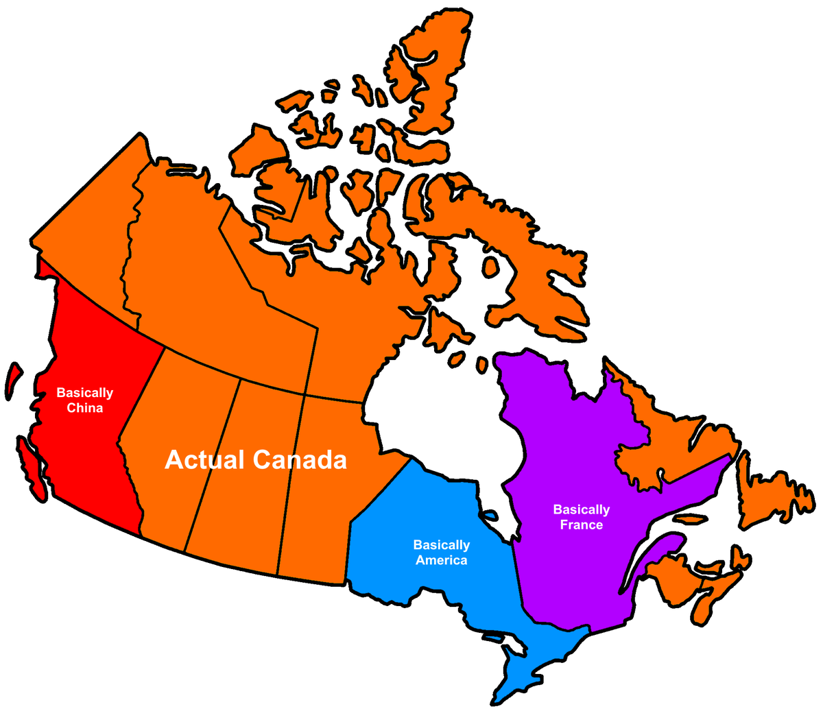 Pics Of Canada Map.Terrible Maps On Twitter Map Of Canada By How Canadian It