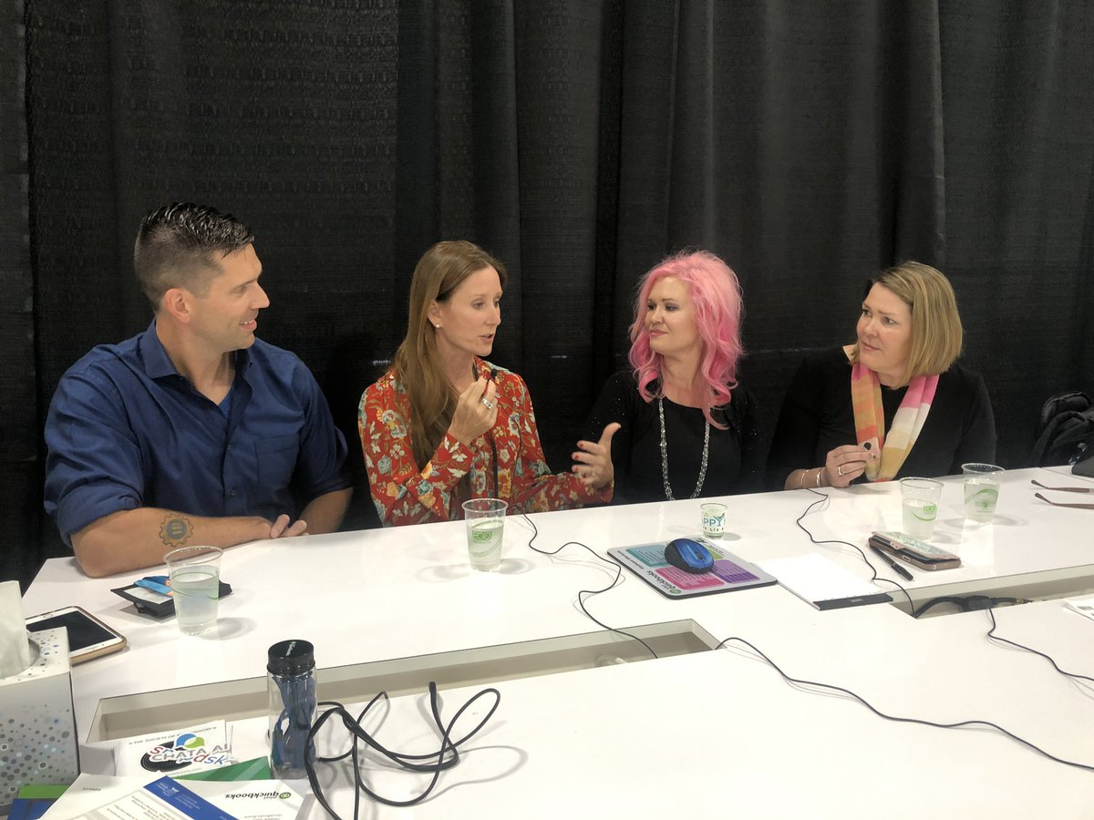 Huge thank you to @qbappyhour for featuring Sean Duncan of SMD Accounting and Jennifer Brazer of @talk2cc on how partnering with @ADP has helped grow their practices. Kudos to @HSatterley and @LizScottQBO for doing it live at #SNH19!
