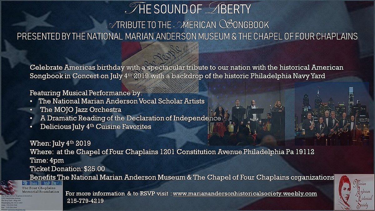 """""""The Sound of Liberty Concert A Tribute to the American Songbook"""".  For more information & to RSVP visit … http://www.maria nandersonhistoricalsociety.weebly.com     215-779-4219 #mariananderson #opera #classical #jazz #4thofjuly  #visitphilly #arts #philadelphia #libertybell #music #americansongbook #charity  #VET<br>http://pic.twitter.com/1wePYK6DPz"""