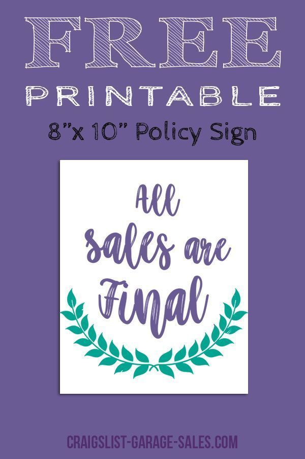 Avoid misunderstandings... Grab a Free, Printable 'All Sales Final Sign' for your upcoming garage sale! (No sign-up required.)  #freeprintables #allsalesfinal - http://bit.ly/31Gklzp