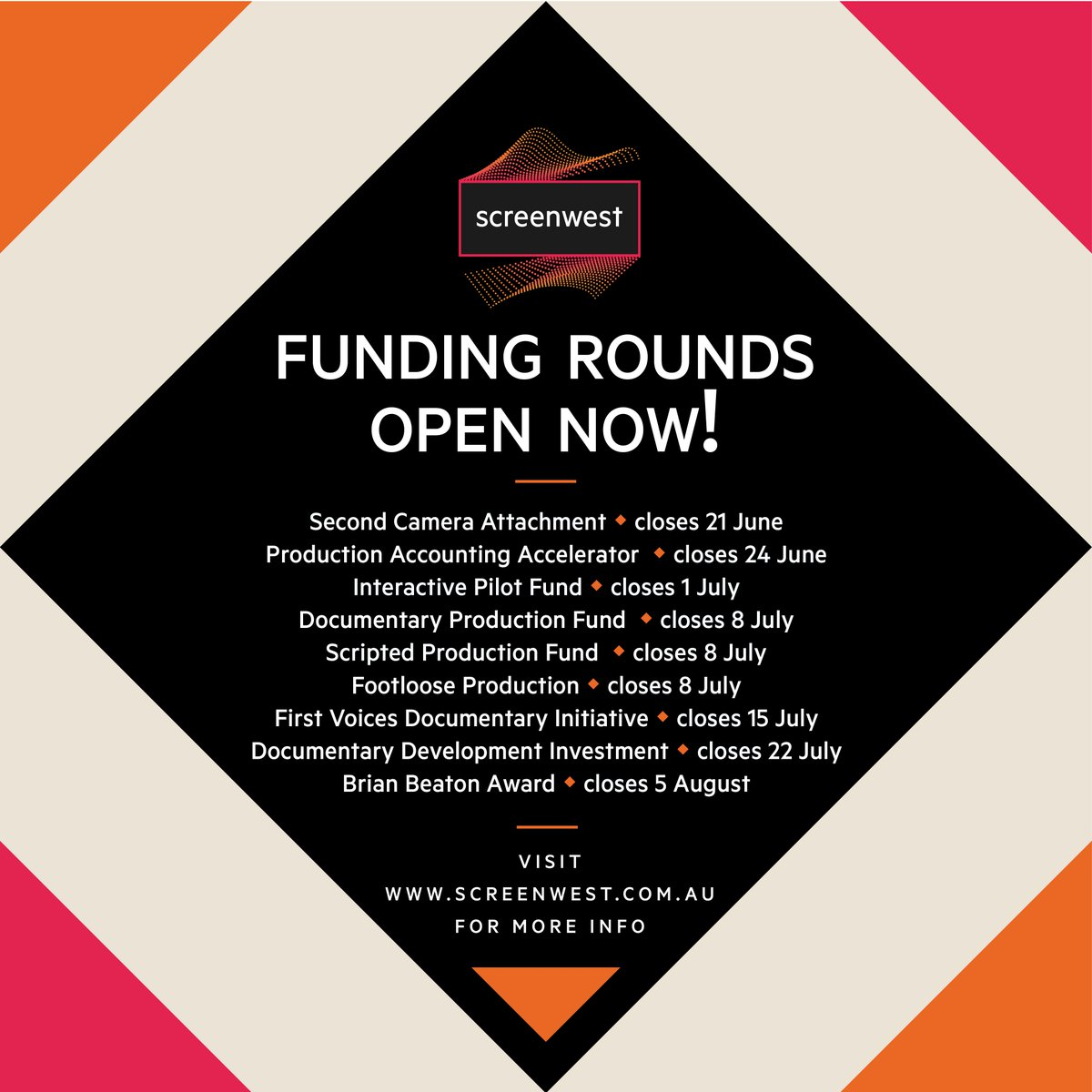 ‼️ OPEN ROUNDS ‼️  21/6 🎥 2nd Camera Attachment 24/6 🧮 Production Accounting Accelerator 1/7 🎮 Interactive Pilot Fund 8/7 🎬 Doco, Scripted & Footloose Production 15/7 ☀️ First Voices 22/7 ✍ Documentary Development 5/8 🏆 Brian Beaton Award  https://www.screenwest.com.au/funding-support/…