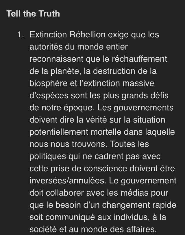 Ce qui est marrant avec Extinction Rébellion c'est l'adaptation dans chaque pays des demandes faites. Par exemple en Norvège elles sont plus claires qu'en France <br>http://pic.twitter.com/jkRNh8Y5kJ