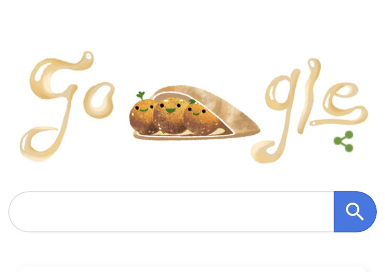 I just found out the #GoogleDoodle is falafel in a pita...I also had falafel in a pita for dinner...I guess today's my lucky day <br>http://pic.twitter.com/gvsRb5G9FG