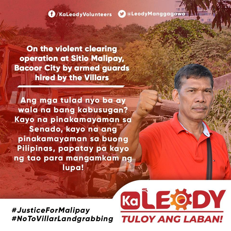 Ka Leody on the violent clearing operation at Sitio Malipay, Bacoor City by armed guards hired by the Villars.  #JusticeForMalipay  #NoToVillarLandgrabbing
