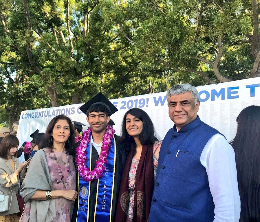 Celebrating our son Vaibhav's graduation at the University of California Irvine. He is now a BA with a double major in Economics and Political Science. <br>http://pic.twitter.com/rbbUimN9QV