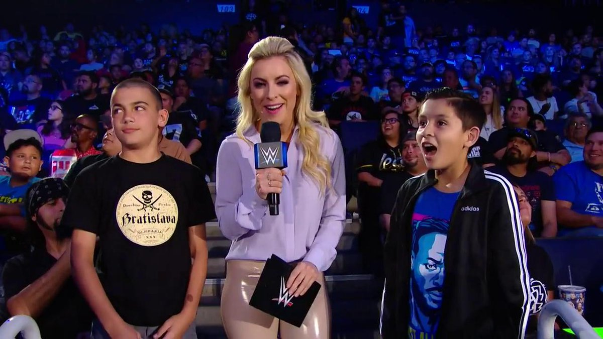 EXCLUSIVE: @sarahschreib tests these fans' #WWE knowledge during a commercial break at #SDLive.