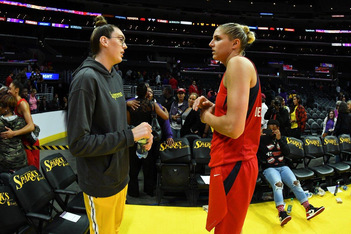 Game respect game ✊🤝  @De11eDonne catching up with @breannastewart after her game in L.A. tonight! #WNBA