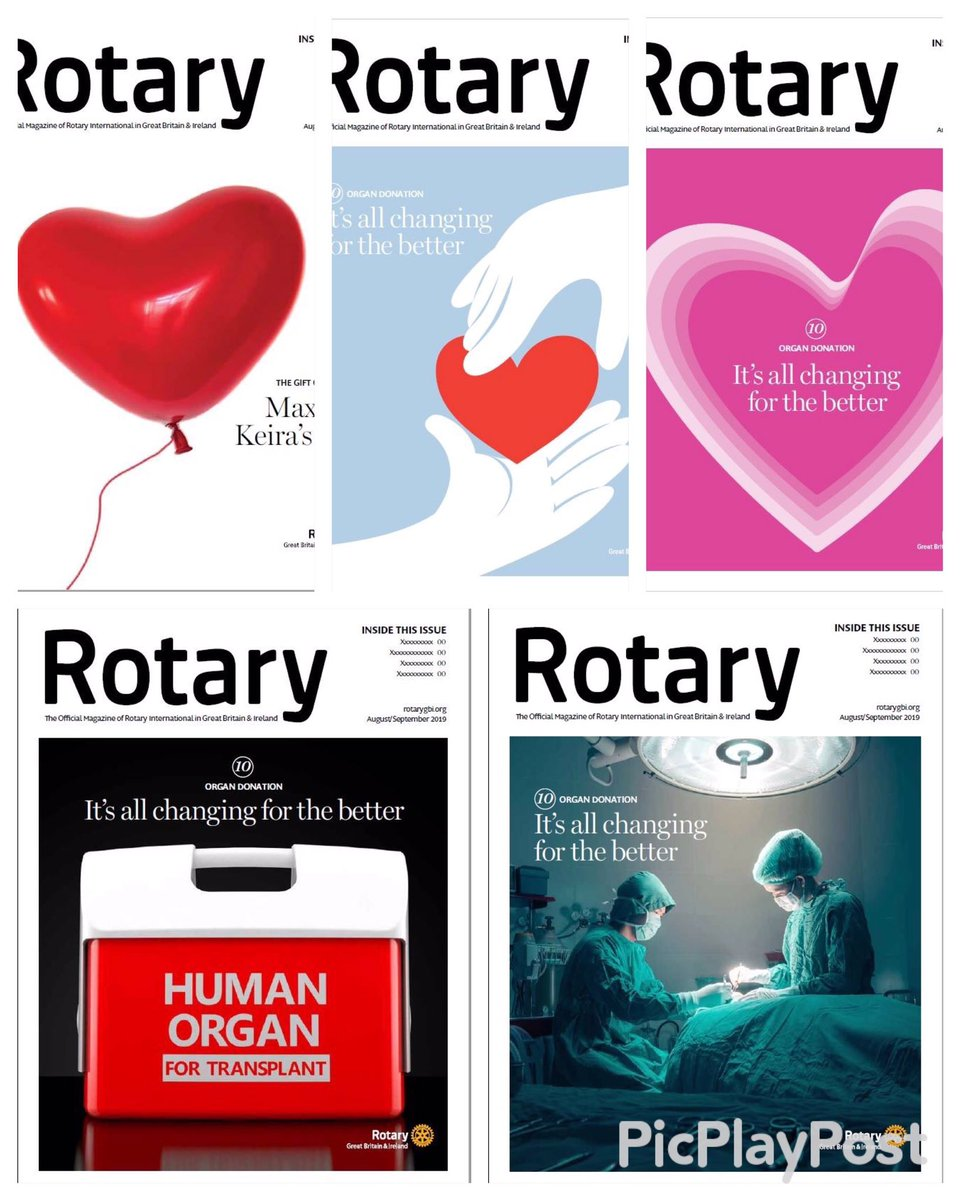 "We're working on the next issue of #Rotary magazine looking at organ donation. The law changes in England next year with an opt-out system known as ""Max & Keira's law"". Here are 5 front cover designs. Which do you like best? @RotaryGBI @NHSOrganDonor @rotary"