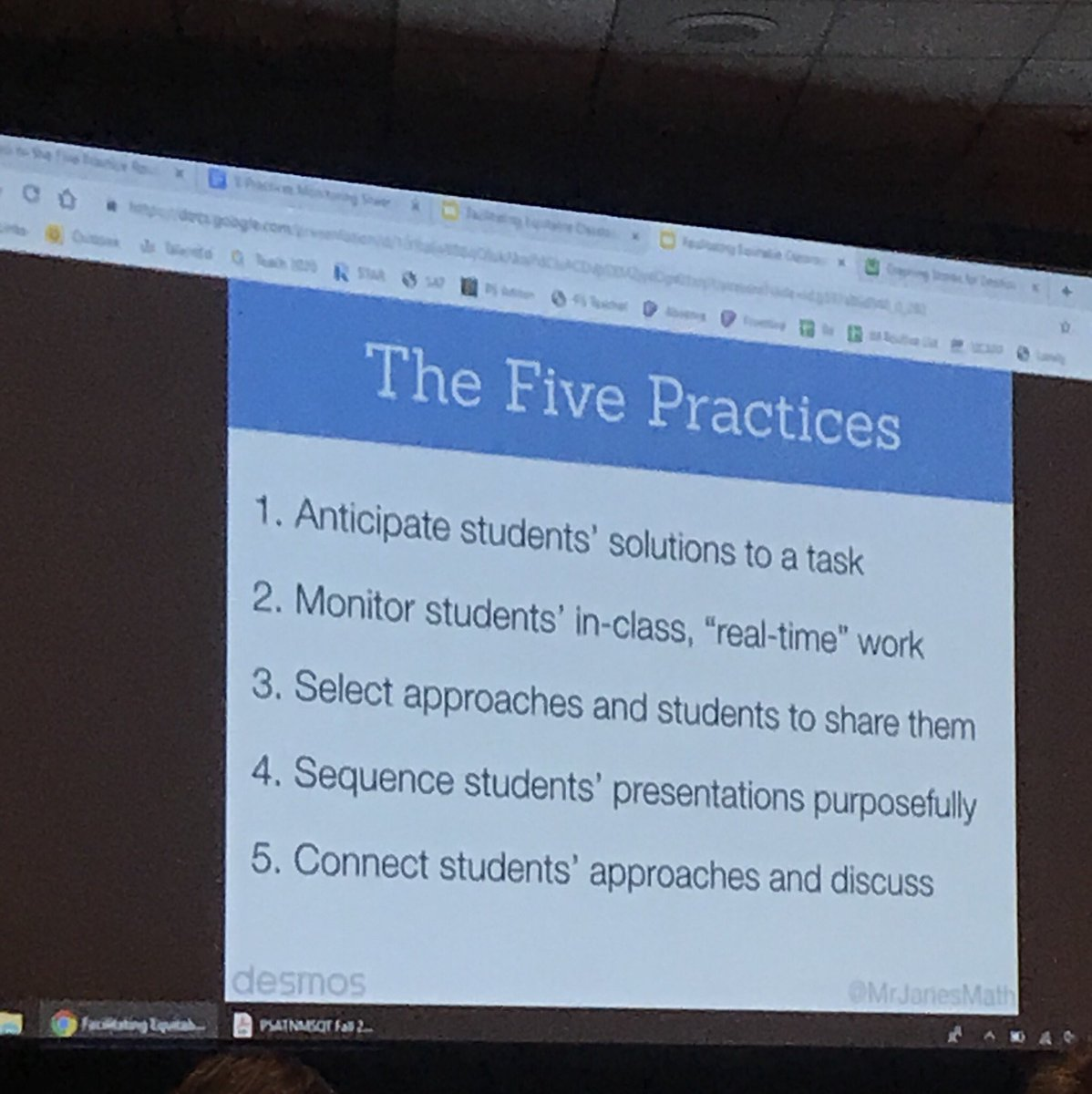#ISTE19 @MrJanesMath bringing in the 5 practices of orchestrating math discussions with Desmos.