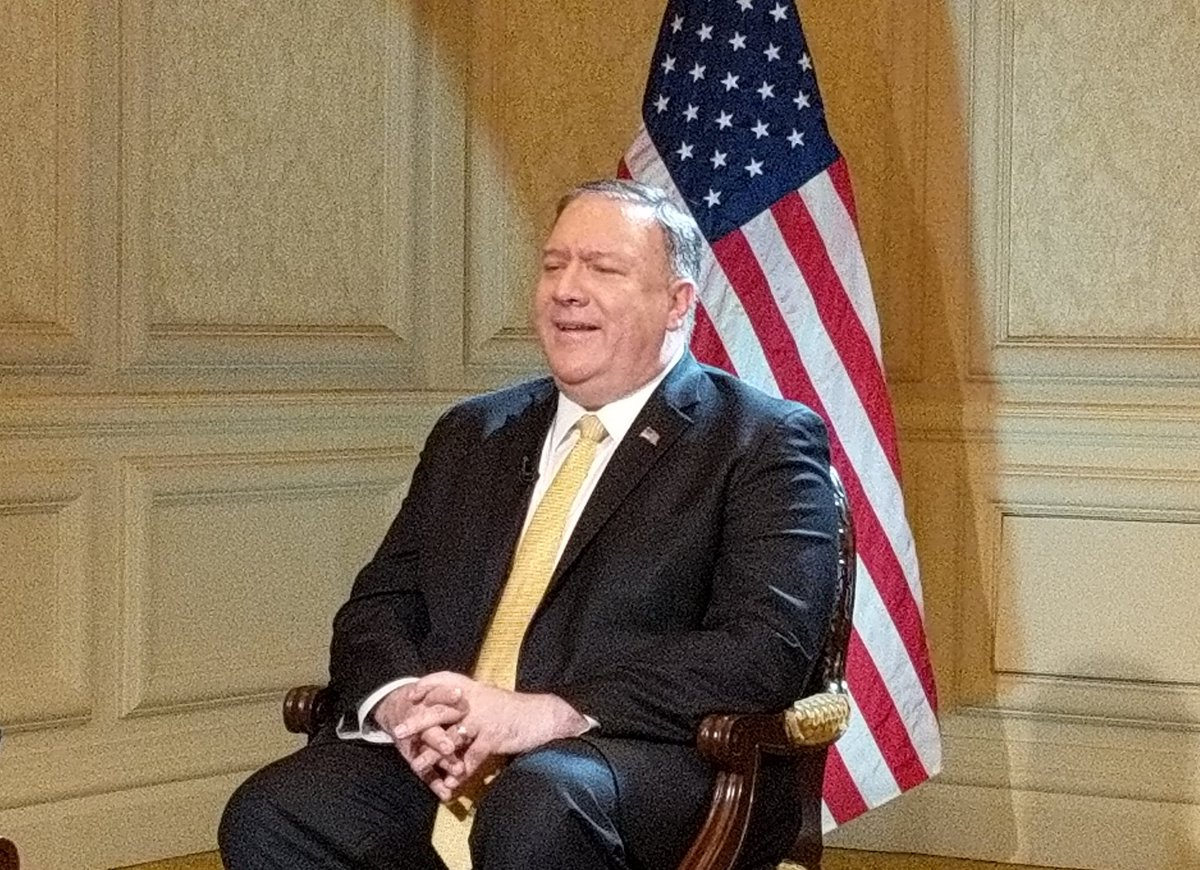 Big #Breaking#Exclusive @SecPompeo tells @IndiaToday that #MasoodAzhar and other designated terrorists discussed during his meeting with NSA Doval.@StateDeputySPOX @StateDept