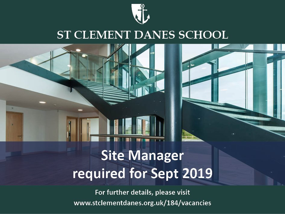 Opportunity to join St Clement Danes School as Site Manager, working with a fantastic team of caretakers to manage our extensive site and first rate facilities. Closing date 5th July Details: https://t.co/RTmep2TZzd https://t.co/q9MwZyknPJ